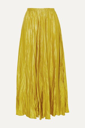 Crinkled Washed Silk-satin Maxi Skirt - Lime green