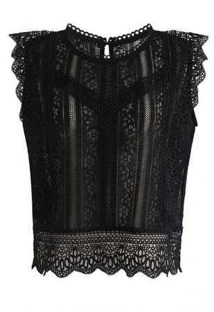 Crochet Trim Sleeveless Lace Top in Black - NEW ARRIVALS - Retro, Indie and Unique Fashion