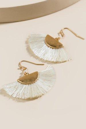 Rainah Fanned Tassel Earrings | francesca's