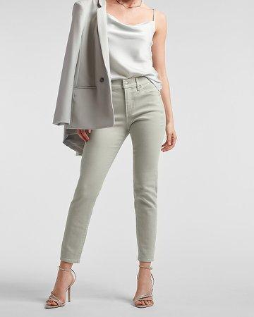 Mid Rise Light Gray Skinny Jeans