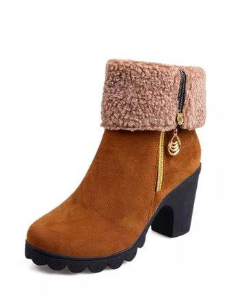 Faux Fleece Lined Platform Suede Boots