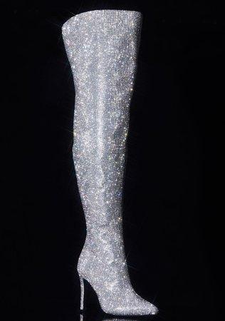 Poster Grl Bling Thigh High Boots Silver | Dolls Kill