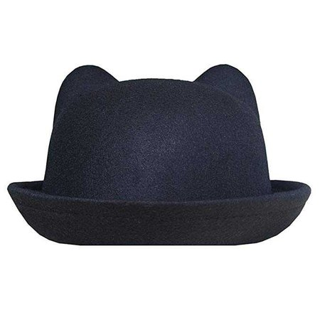 Lujuny Cat Ear Wool Derby Hats - Cute Bowler Fedora Caps with Roll-up Brim for Women Youth (Black) at Amazon Women's Clothing store: