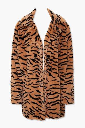 Tiger Print Faux Fur Coat
