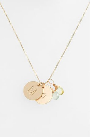 Nashelle Aqua Chalcedony, Lemon Quartz, Initial & Heart 14k-Gold Fill Disc Necklace | Nordstrom