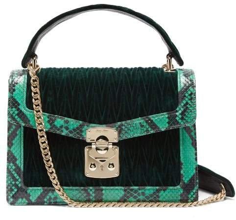 Confidential Matelasse Quilted Velvet Shoulder Bag - Womens - Dark Green
