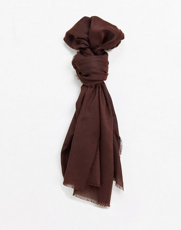 ASOS DESIGN lightweight scarf with raw edge in brown | ASOS