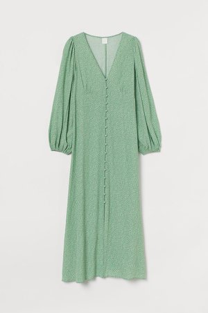 Puff-sleeved Dress - Green