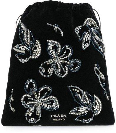 crystal embellished floral pouch