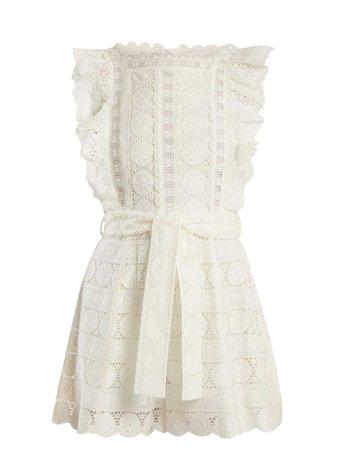 Zimmermann Kali daisy-embroidered wide-leg cotton playsuit