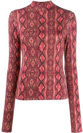 Andamane Beth snakeskin-print top