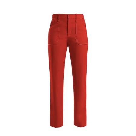 CHLOÉ Contrast-stitch straight-leg trousers red