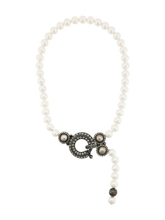Lanvin Pearl Embellished Necklace AWCJEN00AMUL056 White | Farfetch