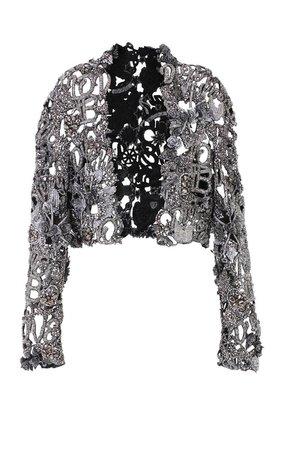 BALMAIN Metallic Beaded Cropped Silk Jacket In Silver