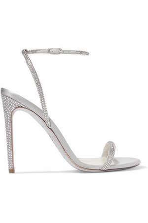 René Caovilla | Crystal-embellished metallic leather and satin sandals | NET-A-PORTER.COM