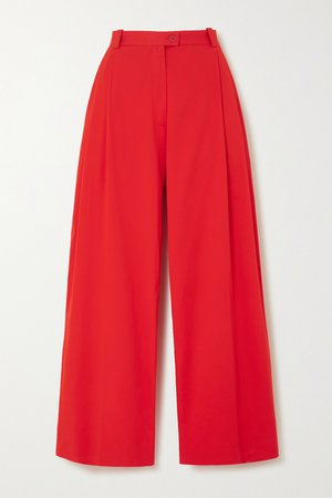 Red Chet pleated stretch-cotton wide-leg pants | Stine Goya | NET-A-PORTER