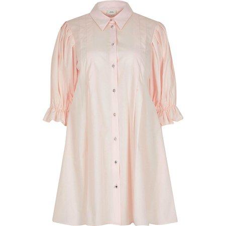 Pink mini shirt dress | River Island