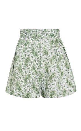 Ondine Pleated Paisley Linen High-Rise Shorts By Faithfull The Brand | Moda Operandi