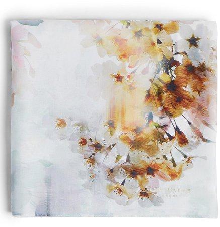Fayreli Floral Print Twill Scarf