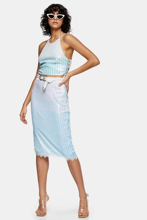 IDOL Mint Ombre Sequin Skirt