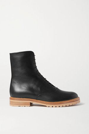 Ruben Leather Combat Boots - Black