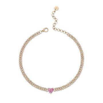 PINK SAPPHIRE HEART MINI PAVE LINK NECKLACE – SHAY JEWELRY