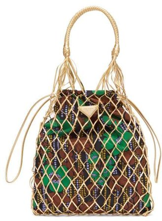 Netted Faux Leather And Floral Print Tote Bag - Womens - Gold Multi