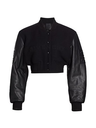 Givenchy Cropped Varsity Jacket   SaksFifthAvenue
