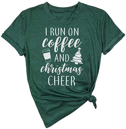 LUKYCILD I Run On Coffee and Christmas Cheer Shirt Women Short Sleeve Christmas Funny Top at Amazon Women's Clothing store