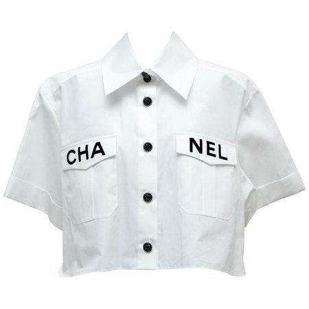 Chanel 2019 White Shirt Runway Piece NEW 36FR