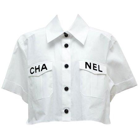 Chanel 2019 White Shirt Runway Piece NEW 36FR