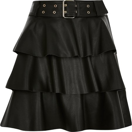 Black faux leather belted tiered mini skirt | River Island
