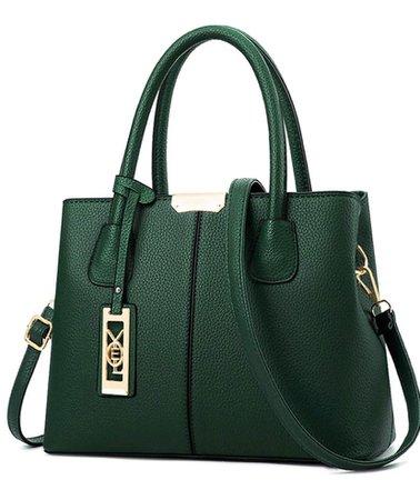 green women's hand bag