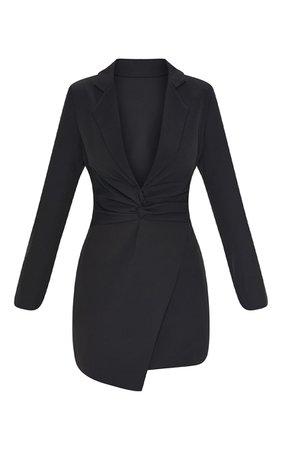 Black Woven Twist Front Blazer Style Bodycon Dress | PrettyLittleThing USA