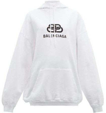 Bb Logo Print Hooded Cotton Jersey Sweatshirt - Womens - White Print