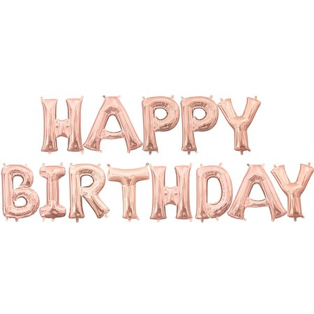 13in Air-Filled Rose Gold Happy Birthday Balloon Kit | Party City Canada
