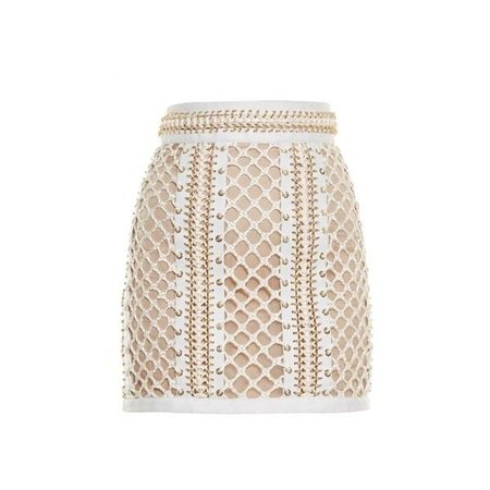BALMAIN Lace-up leather mini skirt ($8,816)
