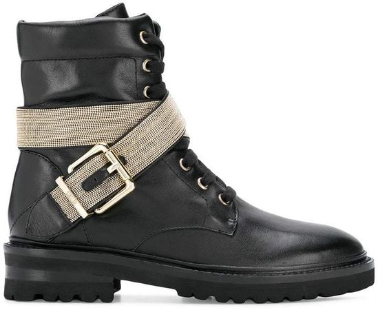 buckled detailing combat boots