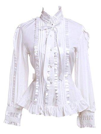 Hugme Cotton White Ruffles Lolita Blouse at Amazon Women's Clothing store