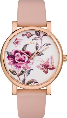 Full Bloom Leather Strap Watch, 38mm