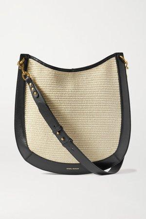 Moskan Leather-trimmed Raffia Shoulder Bag - Beige