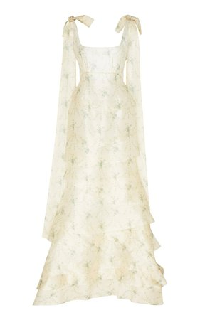 Tiered Tie-Detailed Floral-Jacquard Gown by Brock Collection | Moda Operandi