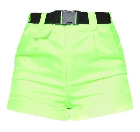 PLT Neon Lime Woven Belted Turn Up Hem Shorts