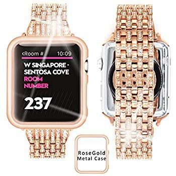 Amazon.com: Ezzdo Apple Watch Diamond Band, Rhinestone Luxury Diamond Stainless Steel Replacement Bands for Apple Watch 38mm 42mm Series 1/2/3 (Gold, 42mm): Cell Phones & Accessories