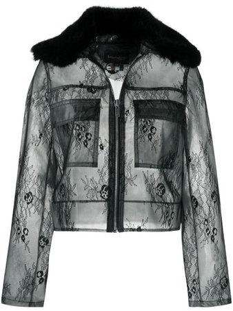La Seine & Moi Lana Lace Transparent Raincoat LANALACE Black | Farfetch