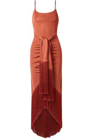Cult Gaia   Natalia tie-front fringed metallic satin-jersey maxi dress   NET-A-PORTER.COM