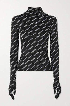 Printed Stretch-jersey Turtleneck Top - Black