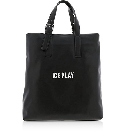 Ice Play Black Signature Tote Bag at FORZIERI