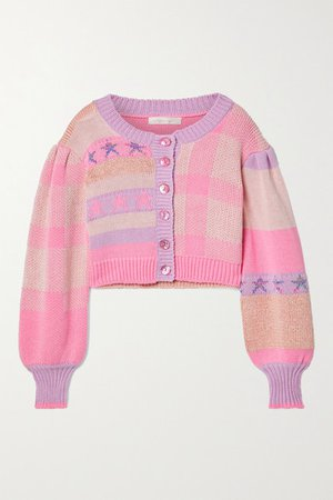 Bedford Cropped Cotton-blend Jacquard Cardigan - Baby pink