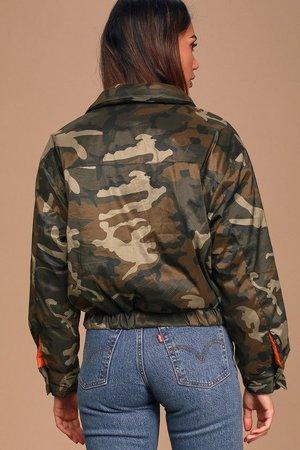 In Plain Sight Green Camo Print Puffer Jacket lulus - Google Search